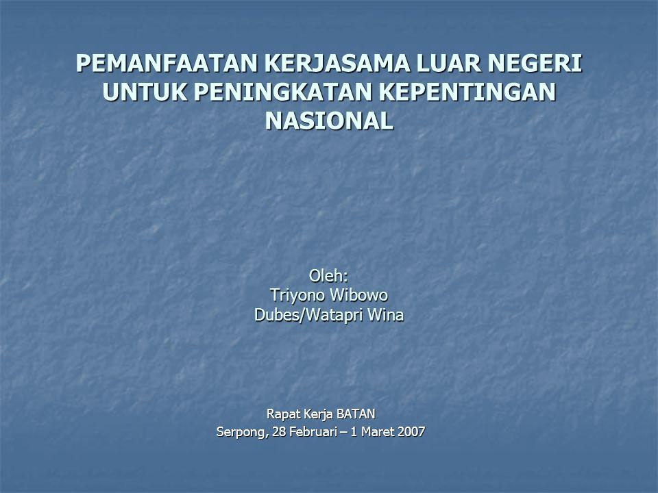 PEMANFAATAN KERJASAMA LUAR NEGERI UNTUK PENINGKATAN KEPENTINGAN NASIONAL Oleh: Triyono Wibowo Dubes/Watapri Wina Rapat Kerja BATAN Serpong, 28 Februari – 1 Maret 2007
