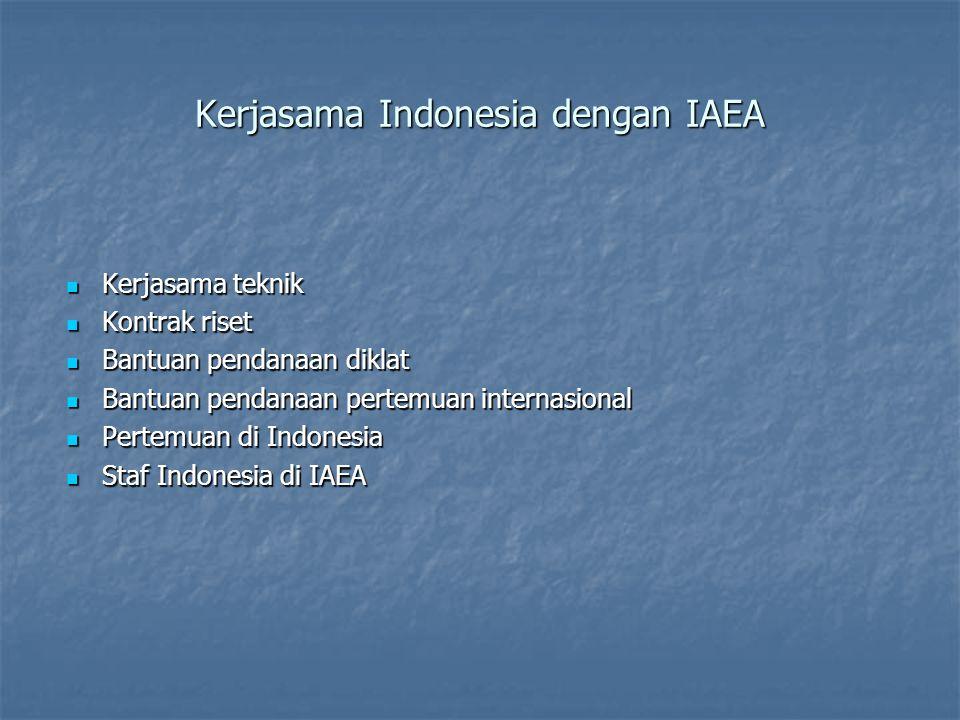 Kerjasama Indonesia dengan IAEA  Kerjasama teknik  Kontrak riset  Bantuan pendanaan diklat  Bantuan pendanaan pertemuan internasional  Pertemuan di Indonesia  Staf Indonesia di IAEA