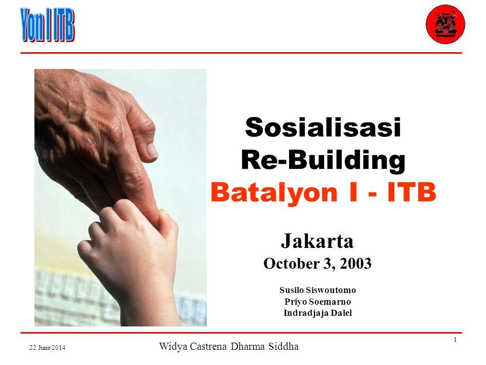 Widya Castrena Dharma Siddha 22 June 2014 1 Sosialisasi Re-Building Batalyon I - ITB Jakarta October 3, 2003 Susilo Siswoutomo Priyo Soemarno Indradjaja Dalel