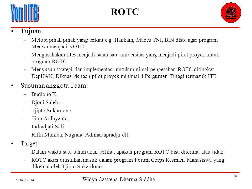 Widya Castrena Dharma Siddha 22 June 2014 10 ROTC •Tujuan: –Melobi pihak pihak yang terkait e.g.
