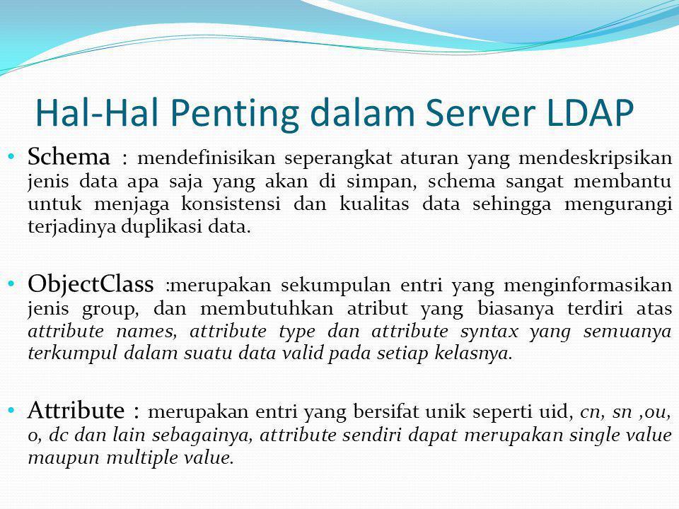 Hal-Hal Penting dalam Server LDAP • Schema : mendefinisikan seperangkat aturan yang mendeskripsikan jenis data apa saja yang akan di simpan, schema sa