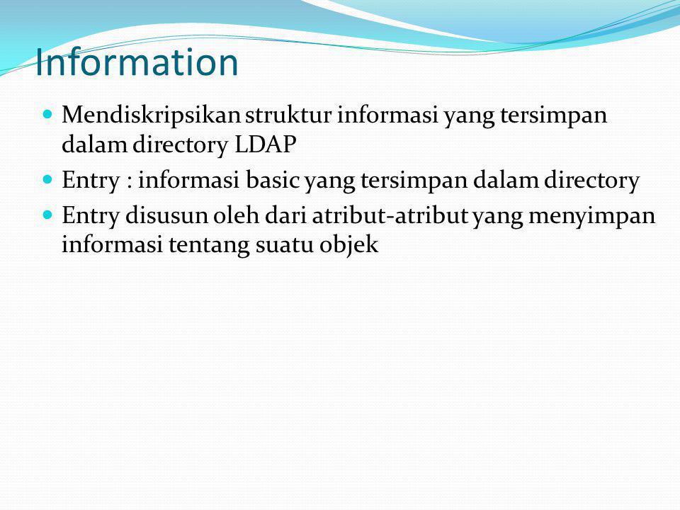 Information  Mendiskripsikan struktur informasi yang tersimpan dalam directory LDAP  Entry : informasi basic yang tersimpan dalam directory  Entry