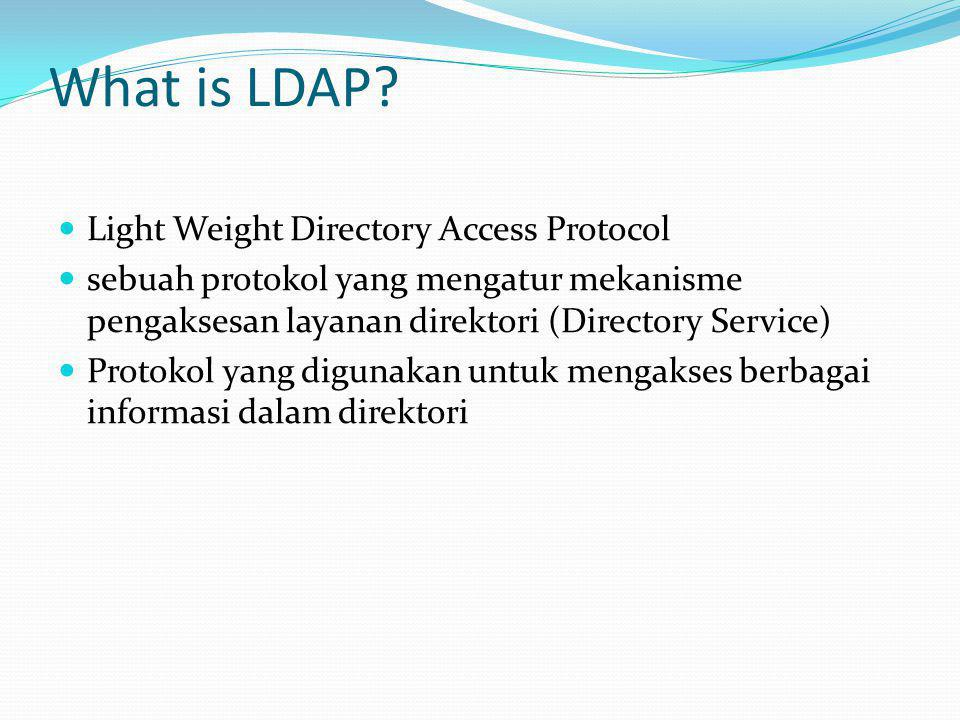 What is LDAP?  Light Weight Directory Access Protocol  sebuah protokol yang mengatur mekanisme pengaksesan layanan direktori (Directory Service)  P