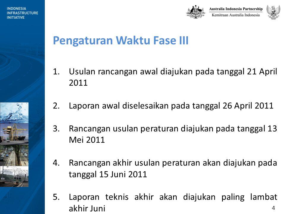 4 Pengaturan Waktu Fase III 1.Usulan rancangan awal diajukan pada tanggal 21 April 2011 2.Laporan awal diselesaikan pada tanggal 26 April 2011 3.Rancangan usulan peraturan diajukan pada tanggal 13 Mei 2011 4.Rancangan akhir usulan peraturan akan diajukan pada tanggal 15 Juni 2011 5.Laporan teknis akhir akan diajukan paling lambat akhir Juni