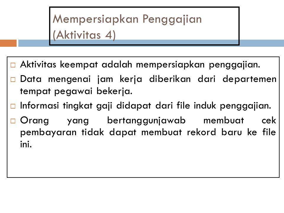 Mempersiapkan Penggajian (Aktivitas 4)  Aktivitas keempat adalah mempersiapkan penggajian.  Data mengenai jam kerja diberikan dari departemen tempat