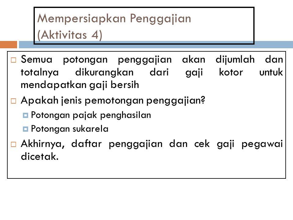 Mempersiapkan Penggajian (Aktivitas 4)  Semua potongan penggajian akan dijumlah dan totalnya dikurangkan dari gaji kotor untuk mendapatkan gaji bersi
