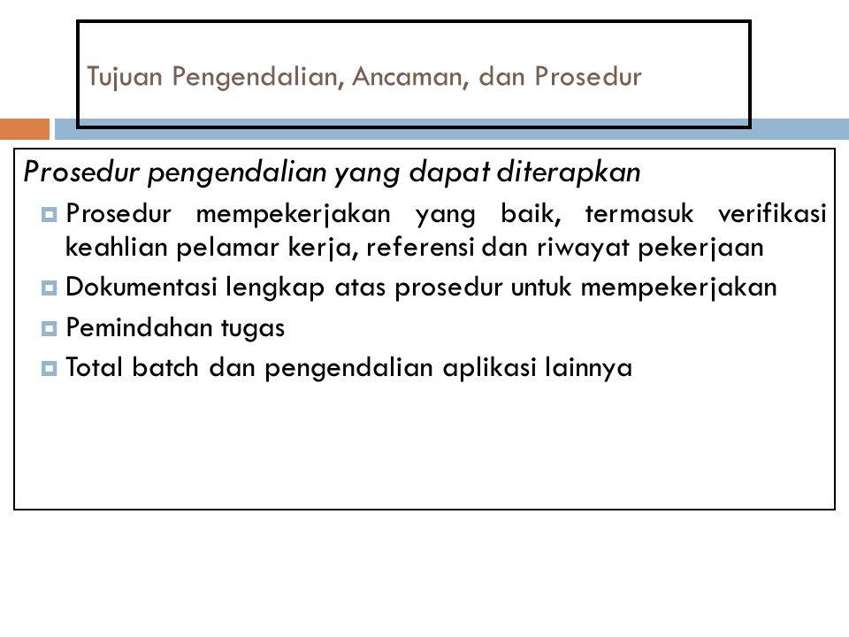 Tujuan Pengendalian, Ancaman, dan Prosedur Prosedur pengendalian yang dapat diterapkan  Prosedur mempekerjakan yang baik, termasuk verifikasi keahlia