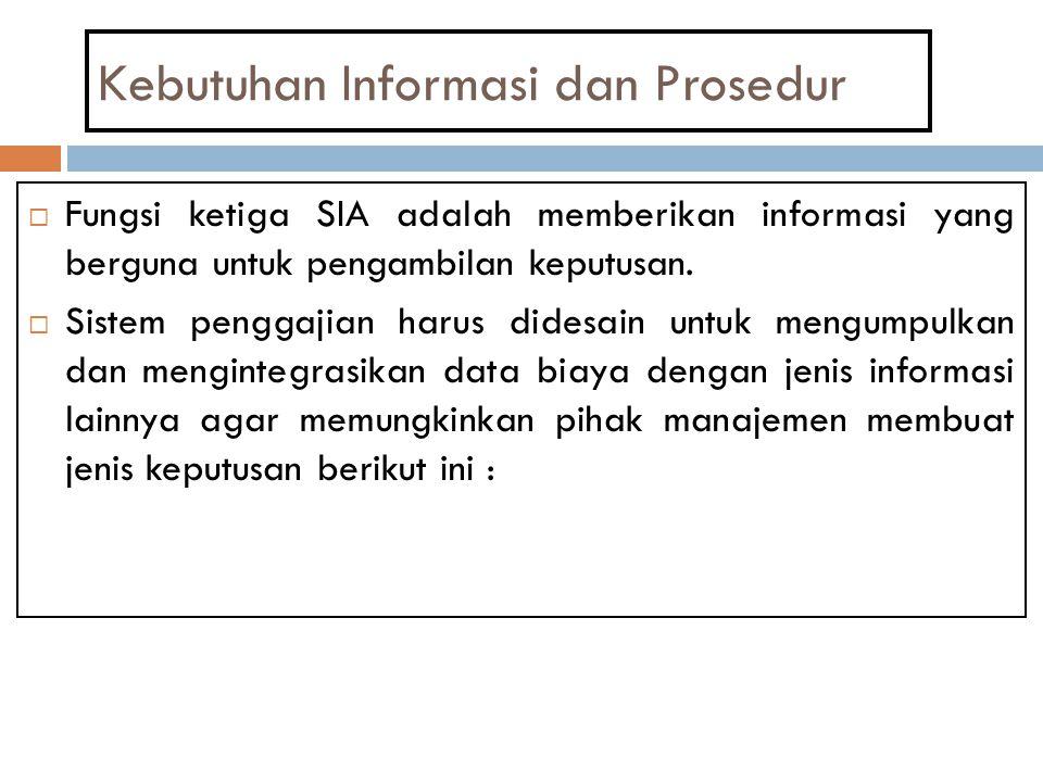 Kebutuhan Informasi dan Prosedur  Fungsi ketiga SIA adalah memberikan informasi yang berguna untuk pengambilan keputusan.  Sistem penggajian harus d