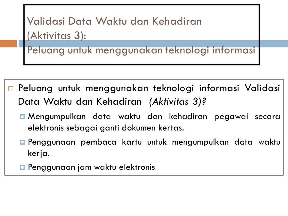 Validasi Data Waktu dan Kehadiran (Aktivitas 3): Peluang untuk menggunakan teknologi informasi  Peluang untuk menggunakan teknologi informasi Validas