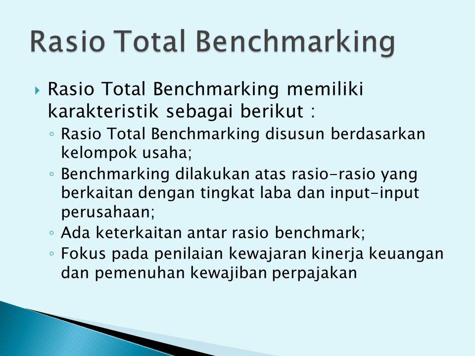  Rasio Total Benchmarking memiliki karakteristik sebagai berikut : ◦ Rasio Total Benchmarking disusun berdasarkan kelompok usaha; ◦ Benchmarking dila