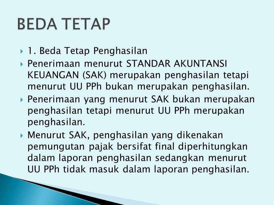  1. Beda Tetap Penghasilan  Penerimaan menurut STANDAR AKUNTANSI KEUANGAN (SAK) merupakan penghasilan tetapi menurut UU PPh bukan merupakan penghasi