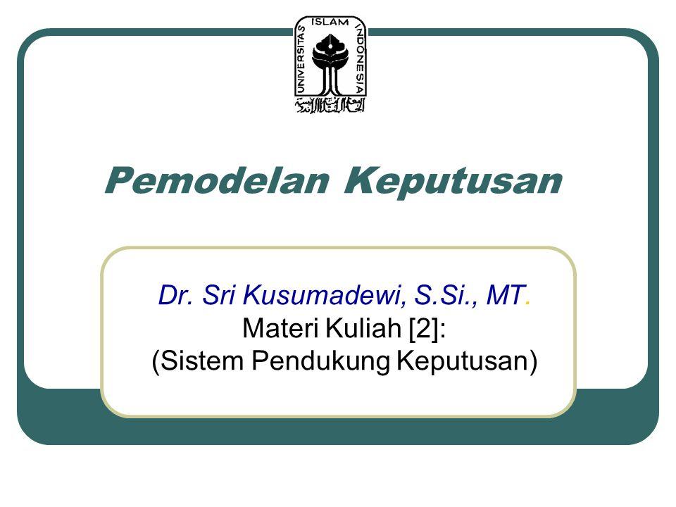 Pemodelan Keputusan Dr. Sri Kusumadewi, S.Si., MT. Materi Kuliah [2]: (Sistem Pendukung Keputusan)