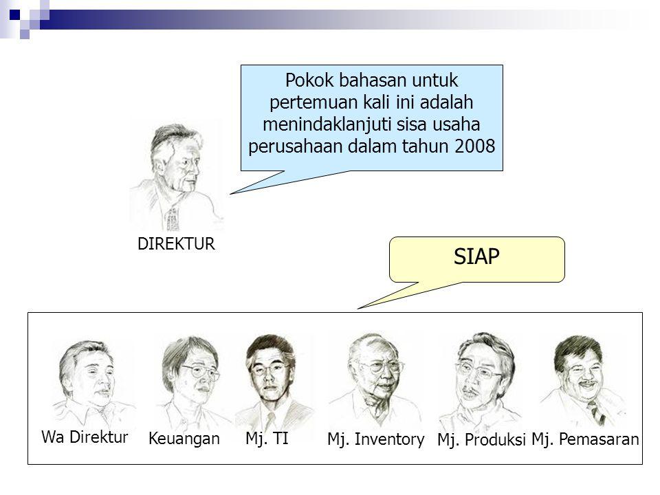 Pokok bahasan untuk pertemuan kali ini adalah menindaklanjuti sisa usaha perusahaan dalam tahun 2008 SIAP DIREKTUR Wa Direktur Mj. TI Mj. Produksi Mj.