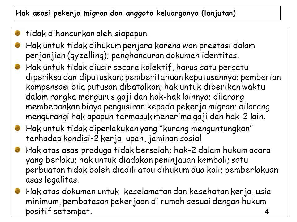 Hak asasi pekerja migran dan anggota keluarganya (lanjutan) tidak dihancurkan oleh siapapun.