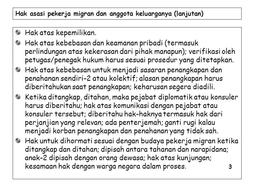 Hak asasi pekerja migran dan anggota keluarganya (lanjutan) Hak atas kepemilikan.