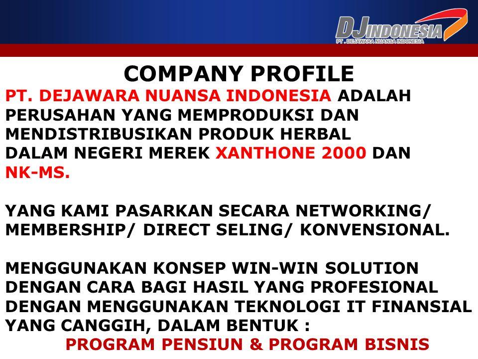 COMPANY PROFILE PT. DEJAWARA NUANSA INDONESIA ADALAH PERUSAHAN YANG MEMPRODUKSI DAN MENDISTRIBUSIKAN PRODUK HERBAL DALAM NEGERI MEREK XANTHONE 2000 DA