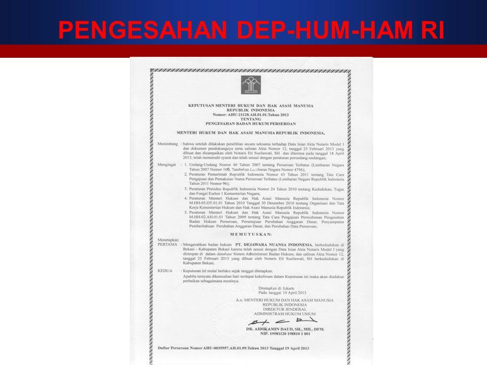 PENGESAHAN DEP-HUM-HAM RI