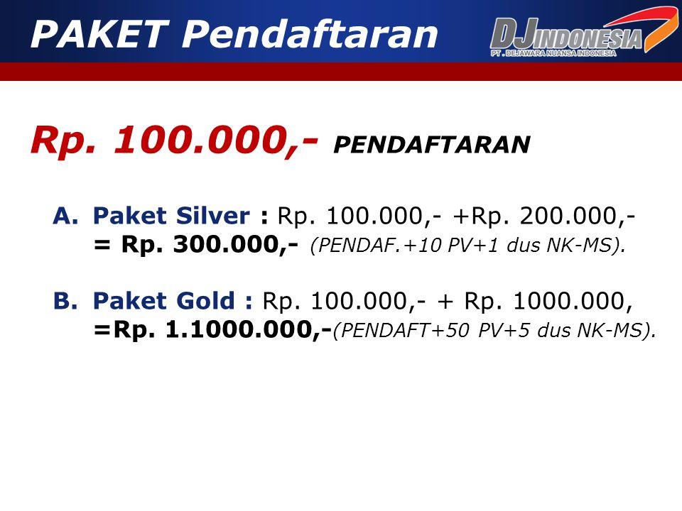 Rp. 100.000,- PENDAFTARAN A.Paket Silver : Rp. 100.000,- +Rp. 200.000,- = Rp. 300.000,- (PENDAF.+10 PV+1 dus NK-MS). PAKET Pendaftaran B.Paket Gold :