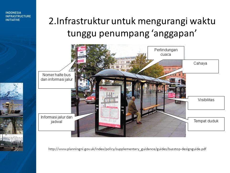 2.Infrastruktur untuk mengurangi waktu tunggu penumpang 'anggapan' http://www.planningni.gov.uk/index/policy/supplementary_guidance/guides/busstop-des