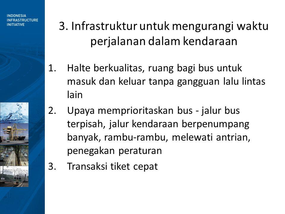 1.Halte berkualitas, ruang bagi bus untuk masuk dan keluar tanpa gangguan lalu lintas lain 2.Upaya memprioritaskan bus - jalur bus terpisah, jalur ken