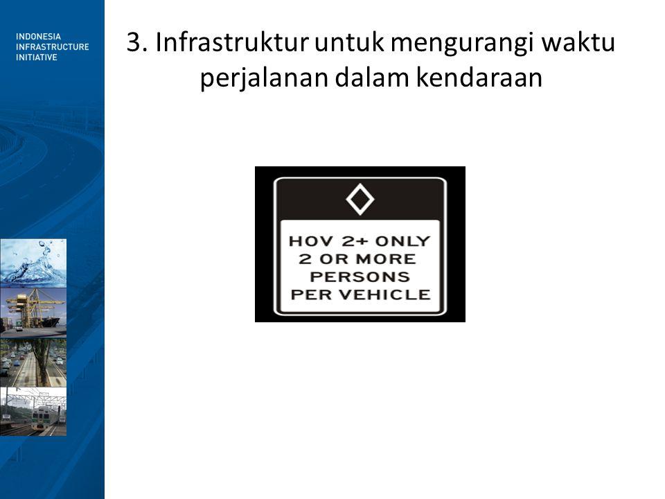 3. Infrastruktur untuk mengurangi waktu perjalanan dalam kendaraan