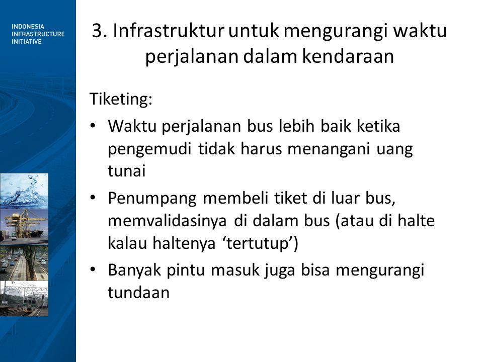 3. Infrastruktur untuk mengurangi waktu perjalanan dalam kendaraan Tiketing: • Waktu perjalanan bus lebih baik ketika pengemudi tidak harus menangani