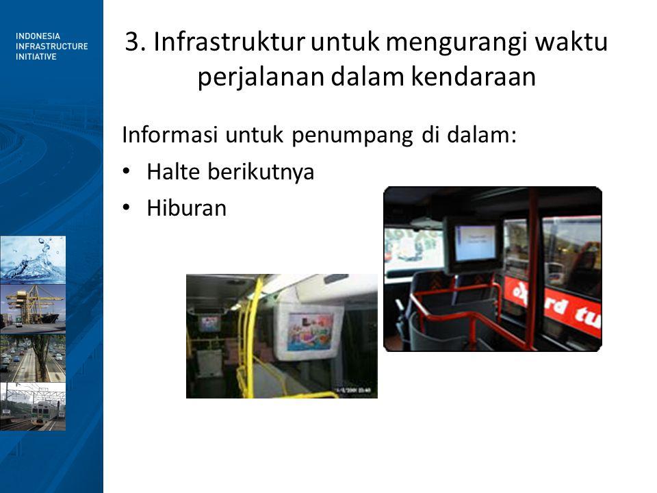3. Infrastruktur untuk mengurangi waktu perjalanan dalam kendaraan Informasi untuk penumpang di dalam: • Halte berikutnya • Hiburan