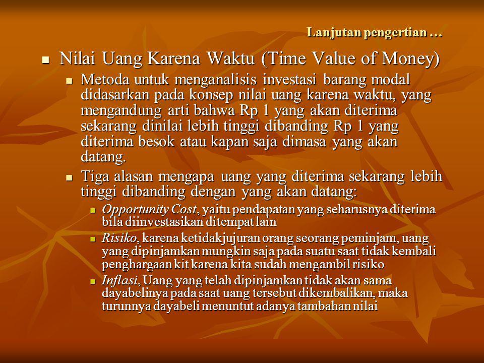 Lanjutan pengertian …  Nilai Uang Karena Waktu (Time Value of Money)  Metoda untuk menganalisis investasi barang modal didasarkan pada konsep nilai