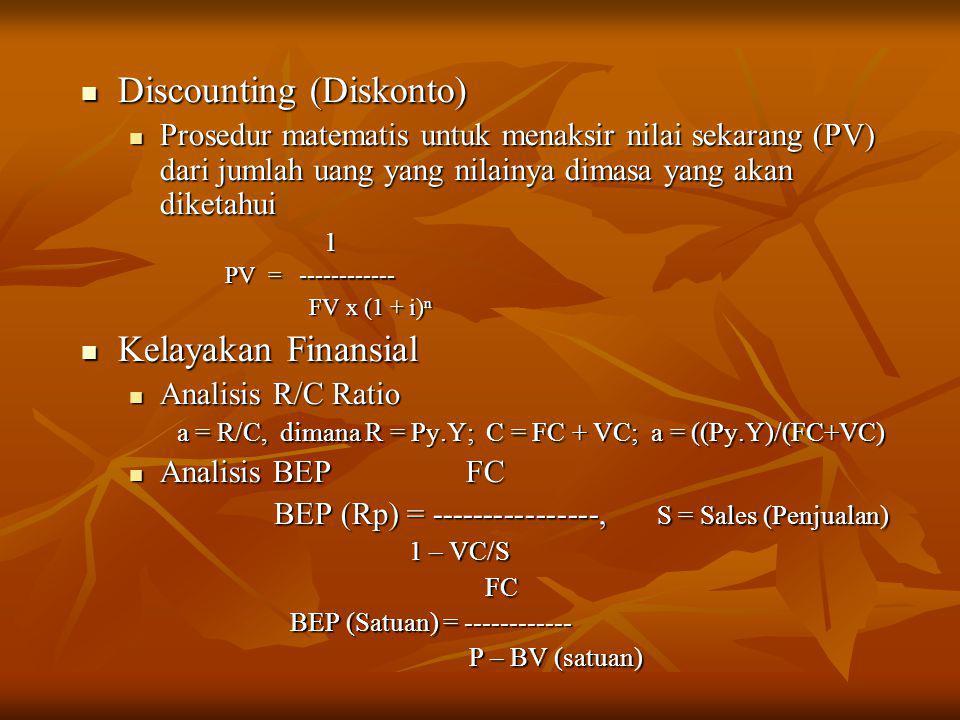  Discounting (Diskonto)  Prosedur matematis untuk menaksir nilai sekarang (PV) dari jumlah uang yang nilainya dimasa yang akan diketahui 1 PV = ----