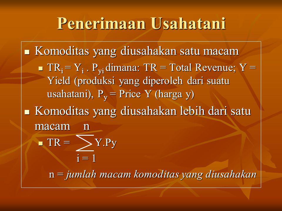 Penerimaan Usahatani  Komoditas yang diusahakan satu macam  TR i = Y i. P yi dimana: TR = Total Revenue; Y = Yield (produksi yang diperoleh dari sua