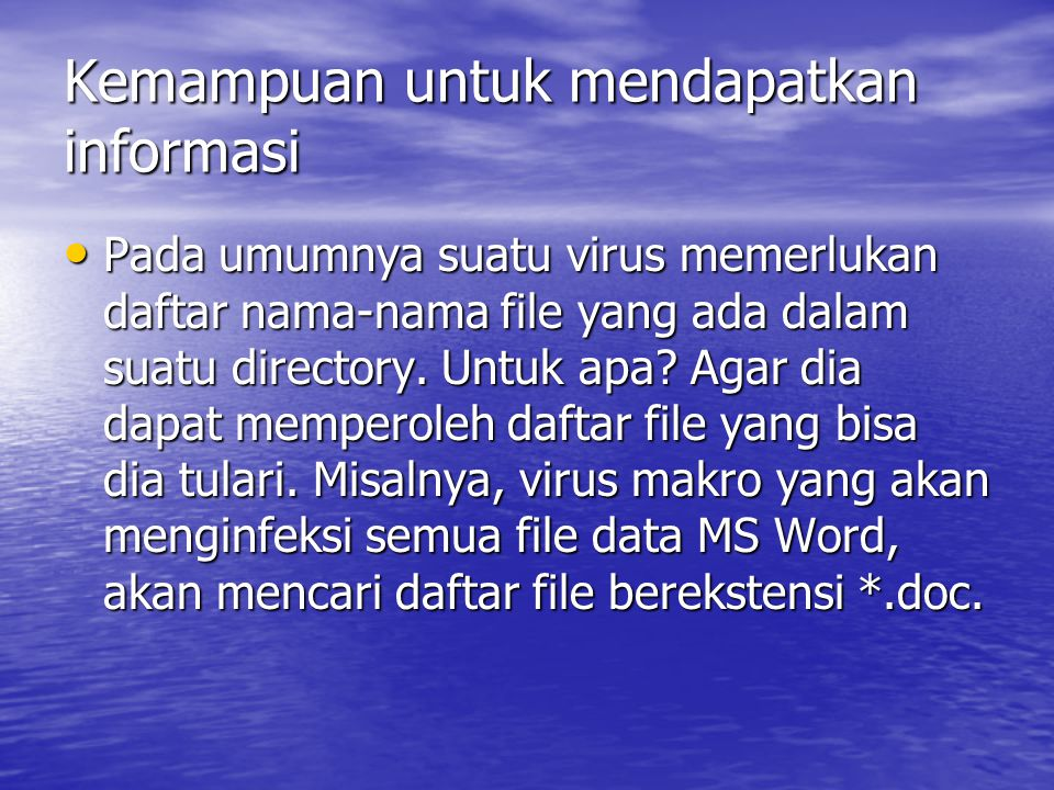 TUGAS • Sebutkan beberapa contoh virus dan effect yang ditimbulkan (minimal 3) • Sebutkan beberapa software antivirus (minimal 3)
