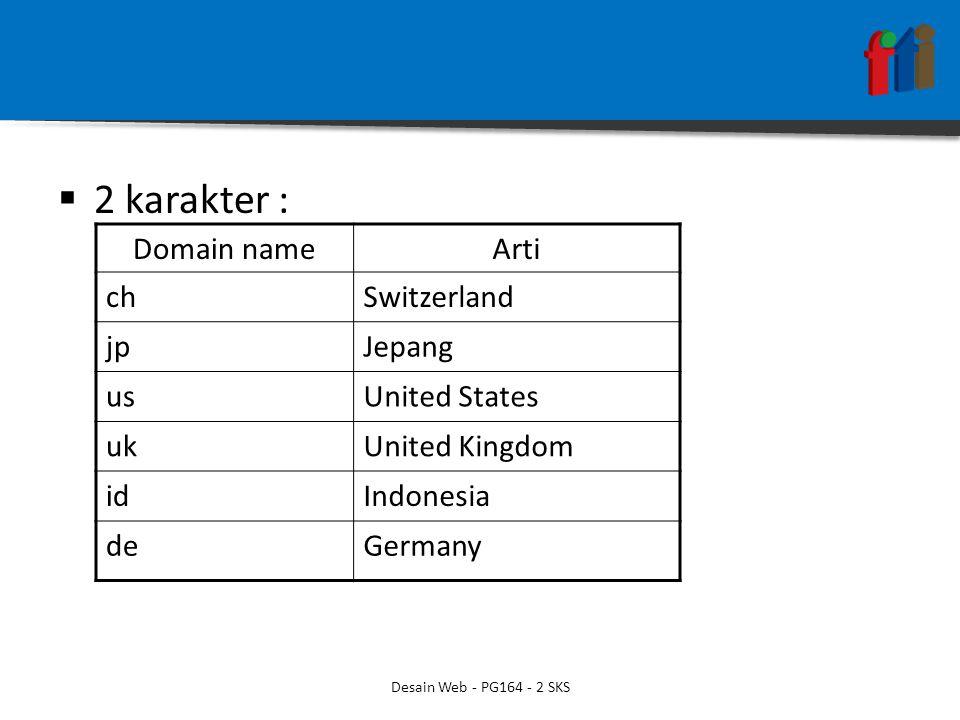  2 karakter : Domain nameArti chSwitzerland jpJepang usUnited States ukUnited Kingdom idIndonesia deGermany Desain Web - PG164 - 2 SKS