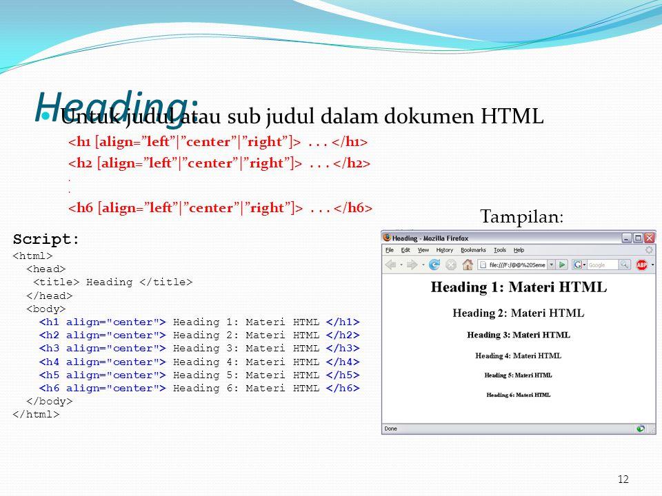 Heading:  Untuk judul atau sub judul dalam dokumen HTML....... 12 Script: Heading Heading 1: Materi HTML Heading 2: Materi HTML Heading 3: Materi HTM