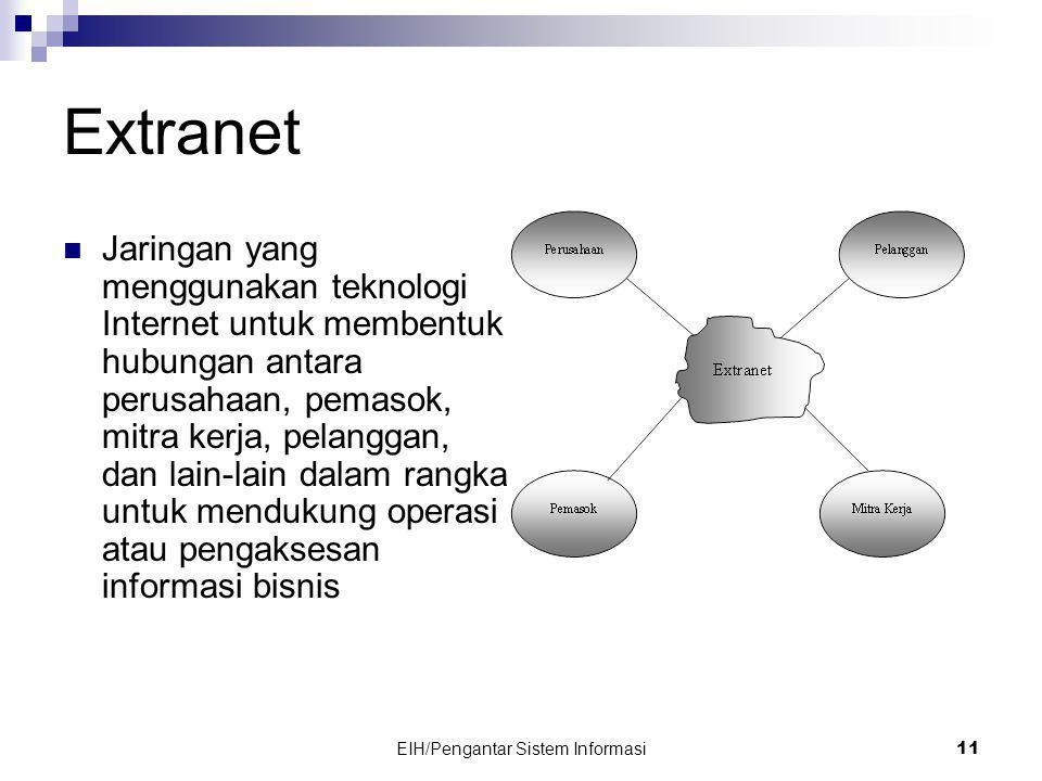 EIH/Pengantar Sistem Informasi 11 Extranet  Jaringan yang menggunakan teknologi Internet untuk membentuk hubungan antara perusahaan, pemasok, mitra kerja, pelanggan, dan lain-lain dalam rangka untuk mendukung operasi atau pengaksesan informasi bisnis