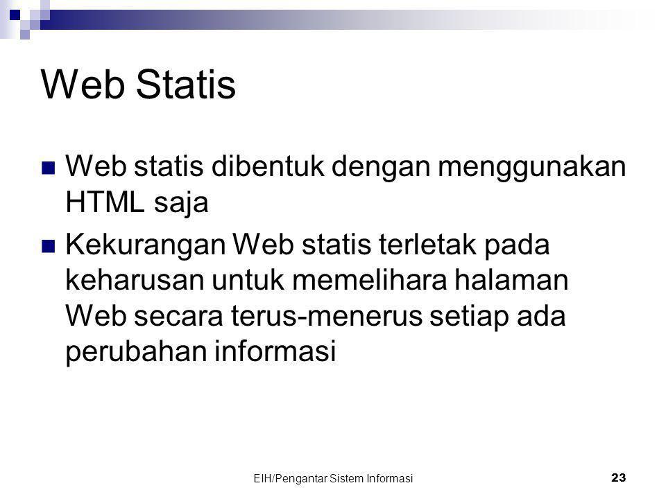 EIH/Pengantar Sistem Informasi 23 Web Statis  Web statis dibentuk dengan menggunakan HTML saja  Kekurangan Web statis terletak pada keharusan untuk memelihara halaman Web secara terus-menerus setiap ada perubahan informasi