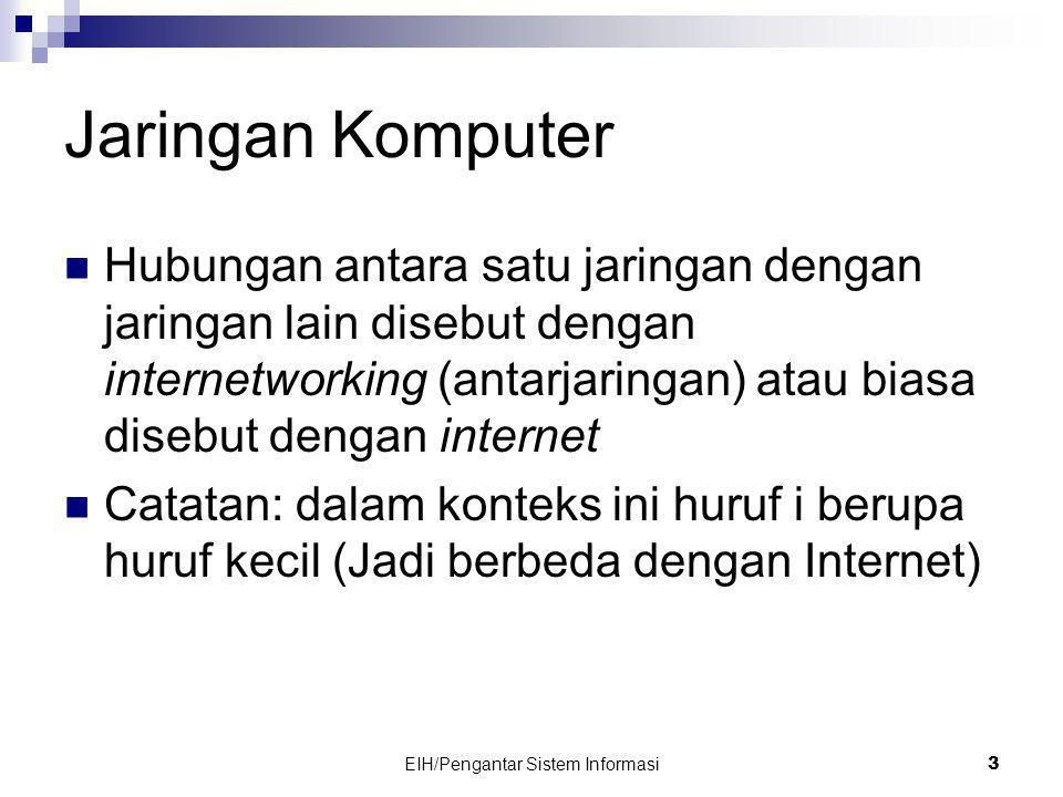 EIH/Pengantar Sistem Informasi 3 Jaringan Komputer  Hubungan antara satu jaringan dengan jaringan lain disebut dengan internetworking (antarjaringan) atau biasa disebut dengan internet  Catatan: dalam konteks ini huruf i berupa huruf kecil (Jadi berbeda dengan Internet)