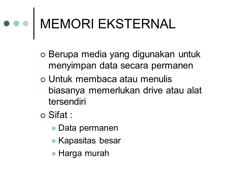 MEMORI EKSTERNAL Berupa media yang digunakan untuk menyimpan data secara permanen Untuk membaca atau menulis biasanya memerlukan drive atau alat terse