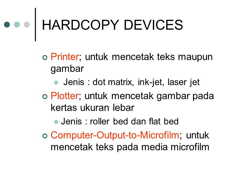 SOFTCOPY DEVICES Layar (monitor); untuk menampilkan teks ataupun gambar JJenis :monochrome <> color text <> graphic CRT <> LCD Speaker; untuk mengeluarkan output berupa suara Data Display; untuk memproyeksikan data pada layar lebar