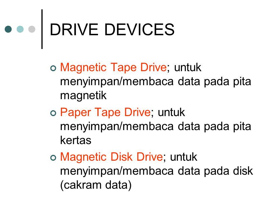 DRIVE DEVICES Magnetic Tape Drive; untuk menyimpan/membaca data pada pita magnetik Paper Tape Drive; untuk menyimpan/membaca data pada pita kertas Mag