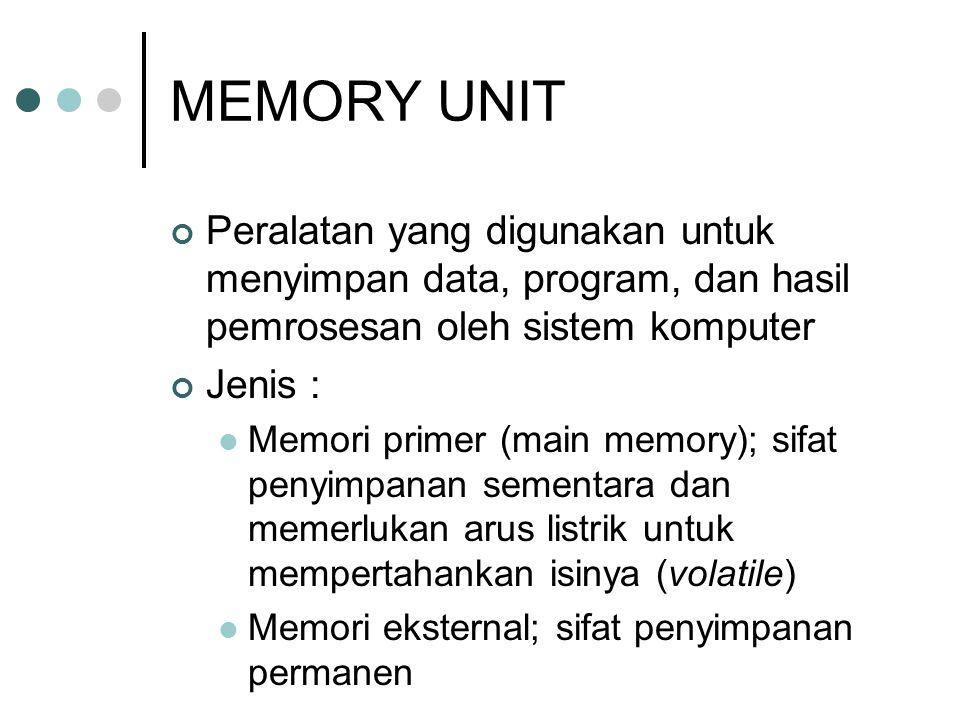 MEMORY UNIT Peralatan yang digunakan untuk menyimpan data, program, dan hasil pemrosesan oleh sistem komputer Jenis :  Memori primer (main memory); s