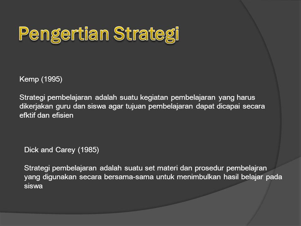 Kemp (1995) Strategi pembelajaran adalah suatu kegiatan pembelajaran yang harus dikerjakan guru dan siswa agar tujuan pembelajaran dapat dicapai secara efktif dan efisien Dick and Carey (1985) Strategi pembelajaran adalah suatu set materi dan prosedur pembelajran yang digunakan secara bersama-sama untuk menimbulkan hasil belajar pada siswa