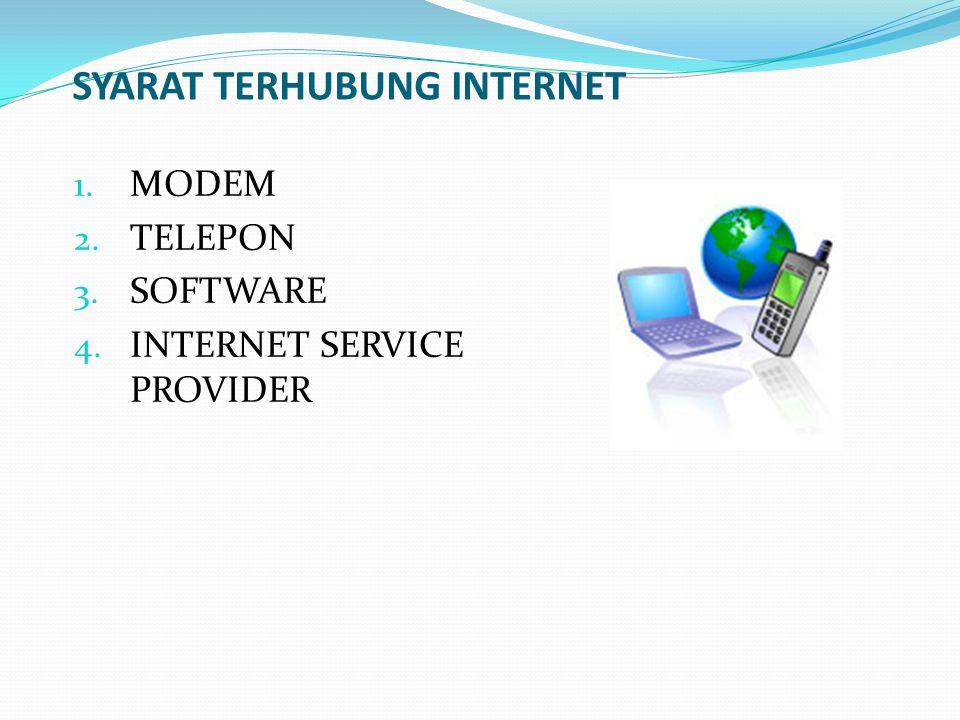 SYARAT TERHUBUNG INTERNET 1. MODEM 2. TELEPON 3. SOFTWARE 4. INTERNET SERVICE PROVIDER