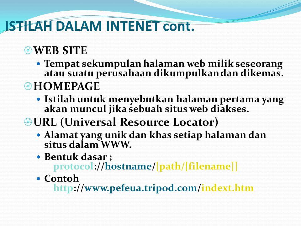 ISTILAH DALAM INTENET cont.  WEB SITE  Tempat sekumpulan halaman web milik seseorang atau suatu perusahaan dikumpulkan dan dikemas.  HOMEPAGE  Ist
