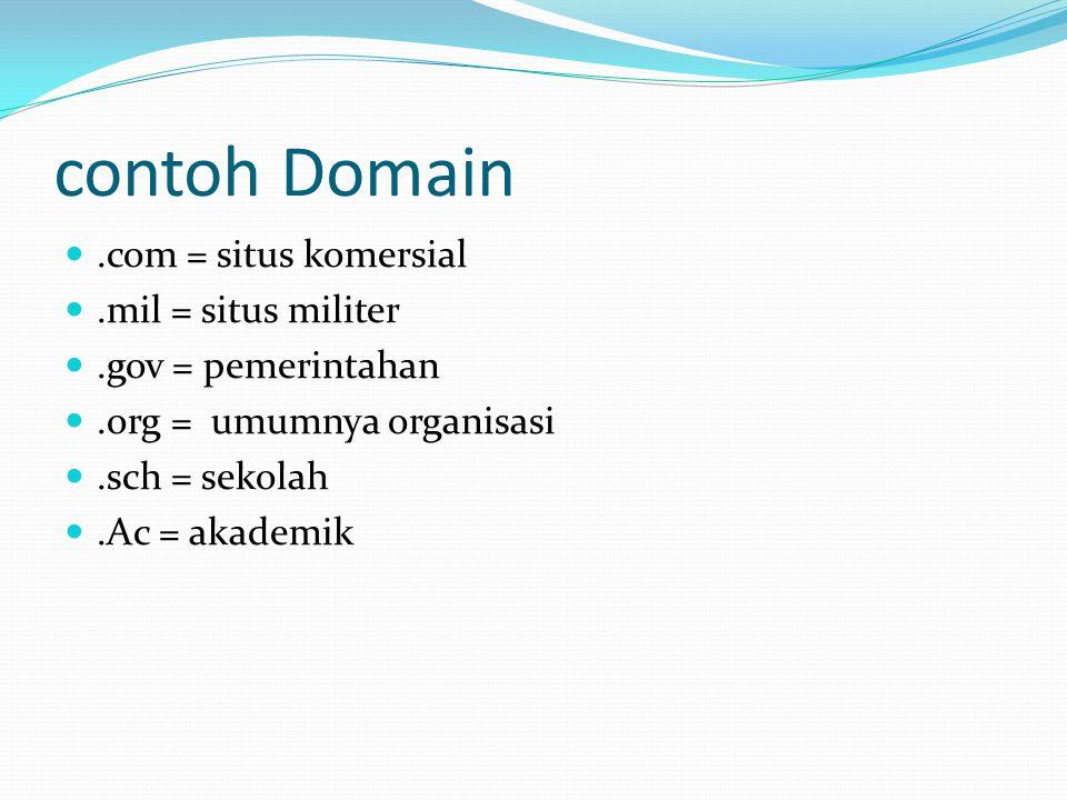 contoh Domain .com = situs komersial .mil = situs militer .gov = pemerintahan .org = umumnya organisasi .sch = sekolah .Ac = akademik
