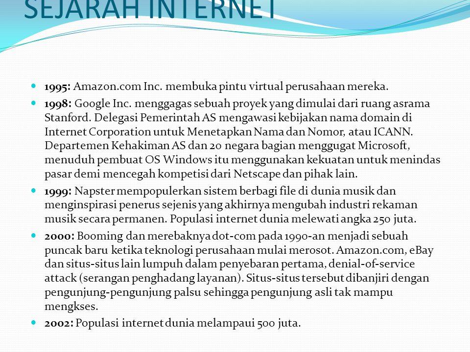 SEJARAH INTERNET  1995: Amazon.com Inc. membuka pintu virtual perusahaan mereka.  1998: Google Inc. menggagas sebuah proyek yang dimulai dari ruang