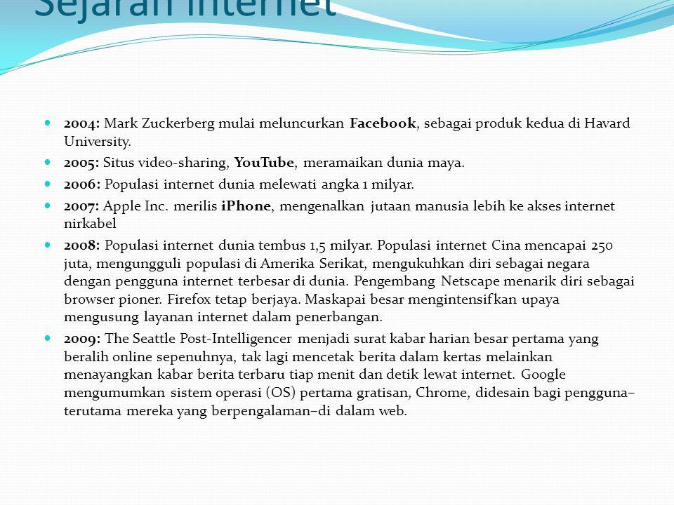 Sejarah internet  2004: Mark Zuckerberg mulai meluncurkan Facebook, sebagai produk kedua di Havard University.  2005: Situs video-sharing, YouTube,