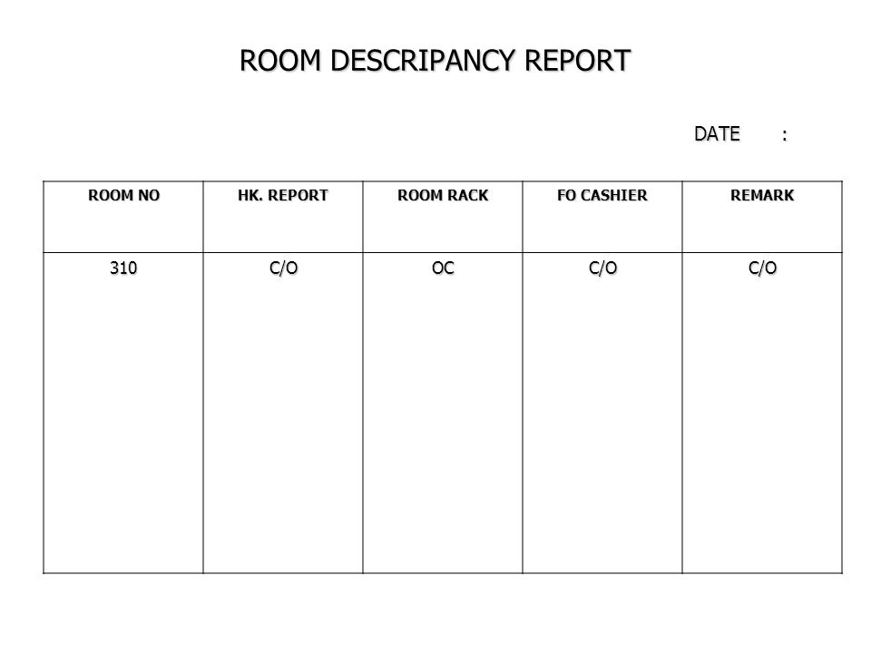 ROOM DESCRIPANCY REPORT DATE: ROOM NO HK. REPORT ROOM RACK FO CASHIER REMARK 310C/OOCC/OC/O