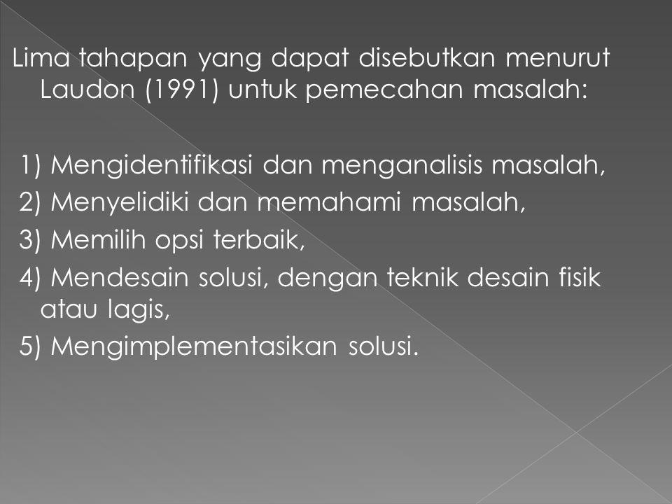 Lima tahapan yang dapat disebutkan menurut Laudon (1991) untuk pemecahan masalah: 1) Mengidentifikasi dan menganalisis masalah, 2) Menyelidiki dan mem