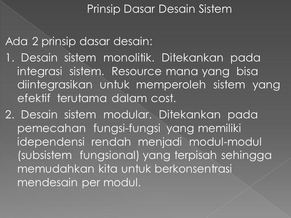 Prinsip Dasar Desain Sistem Ada 2 prinsip dasar desain: 1. Desain sistem monolitik. Ditekankan pada integrasi sistem. Resource mana yang bisa diintegr