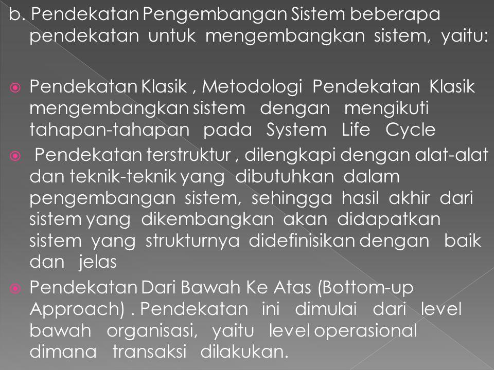 b. Pendekatan Pengembangan Sistem beberapa pendekatan untuk mengembangkan sistem, yaitu:  Pendekatan Klasik, Metodologi Pendekatan Klasik mengembangk